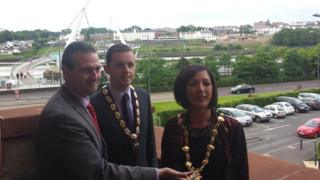 From left: Outgoing mayor Martin Reilly, the new deputy mayor Gary Middleton, and the new mayor Brenda Stevenson
