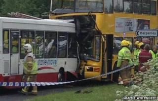 Wrecked buses