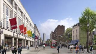 An artist's impression of improvements to be made on Tottenham Court Road