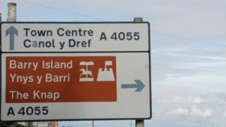 Road sign in Barry