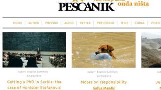 Screen grab of Pescanik homepage