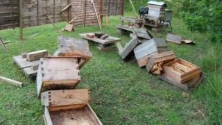 Vandalised bee hives