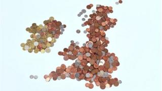 Map of the British Isles made out of coins