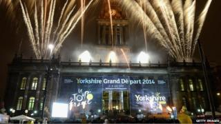 Fireworks outside Leeds Town Hall