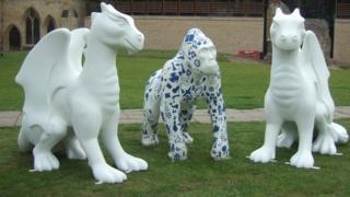 Dragon and gorilla sculptures