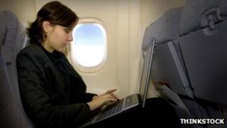 Laptop on plane