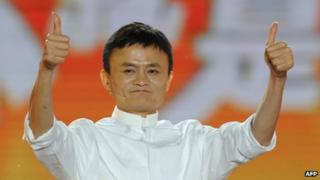 Alibaba founder Jack Ma gives a thumbs up