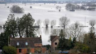 Flooded farmland near Burrowbridge