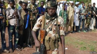 Seleka fighters in Molemi, Central African Republic. 5 June 2014