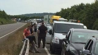 There were long queues on the M54 after two crashes on the A5