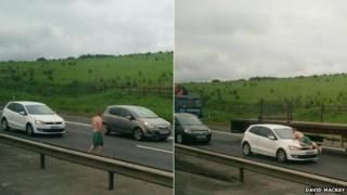 Man in boxer shorts on M8