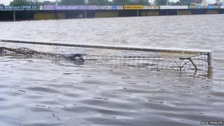 Gloucester City's ground under water