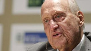 File picture of Joao Havelange in Rio de Janeiro in 2010