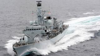 Warship MHS Montrose at sea