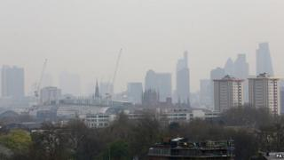A shot of London's skyline shrouded in air pollution