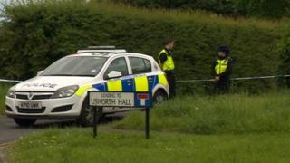 Police outside Usworth Hall