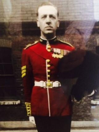 Guardsman in uniform with medals