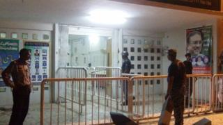 The BBC's Riaz Sohail took this photograph of the entrance the militants used
