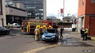 Car fire at Buchanan Galleries