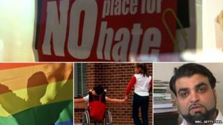Composite image of n hate banner, a disabled child, flag, hate crime campaigner