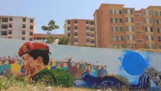 Hugo Chavez mural in Ciudad Caribia