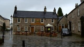 The man had been at the Montgomerie Arms pub when he suffered fatal injuries on Sunday