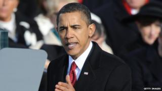 President Obama delivers his inaugural address in January 2009.