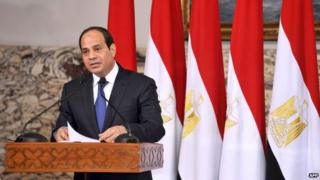 President Abdel Fattah al-Sisi delivering a speech after being sworn in at a ceremony in Cairo - 8 June 2014