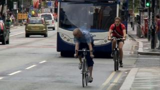 Cyclists in Manchester