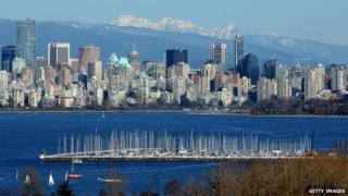 A general view of the Vancouver skyline across English Bay