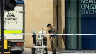 Bomb disposal squad at Newcastle University