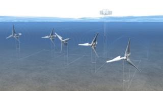An artists impression of how the submerged turbines would look