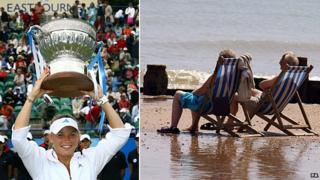 Caroline Wozniacki with the winners's trophy in 2009 and two people in deckchairs on the beach at Eastbourne