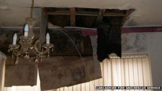 Collapsed hotel ceiling