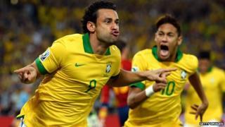 Brazil forwards Fred and Neymar