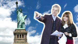 Doctor Who stars superimposed in front of the Statue of Liberty