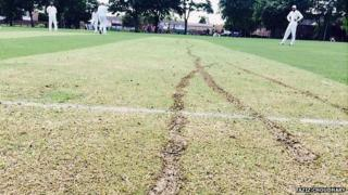 Motorbike tracks on Houghton Chargers' cricket pitch