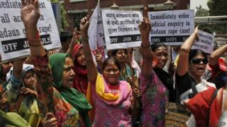 "Members of the All India Democratic Women""s Association (AIDWA) shout slogans during a protest against the gang rape of two teenage girls, in New Delhi, India, Saturday, May 31, 2014."