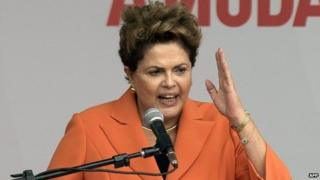 Dilma Rousseff at a ceremony in Brasilia