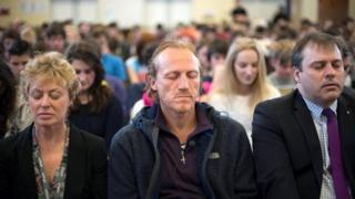 Jerome Flynn joins pupils and staff at Ysgol Dewi Sant in a mindfulness session