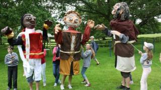 Some of the giant puppets
