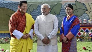 Mr Modi (centre) met Bhutanese King Jigme Kesar Wangchuk (left) and Queen Jetsun Pema on Sunday