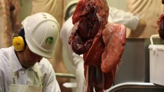 An FSA inspector in the abattoir in Eye, Suffolk