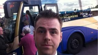 Reporter Andy West began his journey at the Europa Bus Centre in Belfast