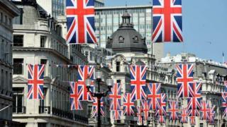 Union Jack flags in London's Regent Street