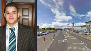Paul Somerville and the street where he fell from a police van