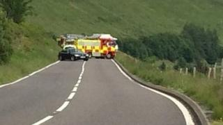 Scene of the collision on the A44