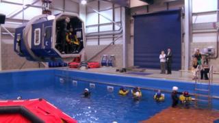 Helicopter crash underwater training exercise