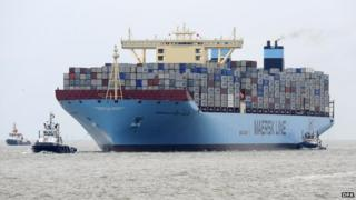 Maersk container vessel at sea