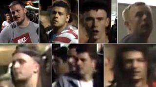 The seven images of the men police wish to speak to